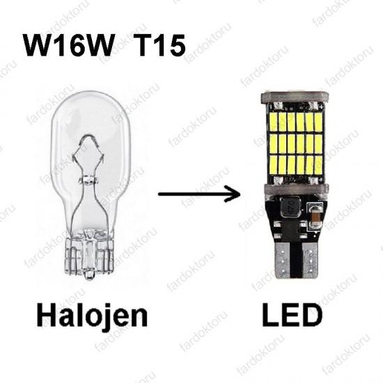 T15 DUY BEYAZ LED GERİ VİTES AMPULÜ W16W 45Çipli